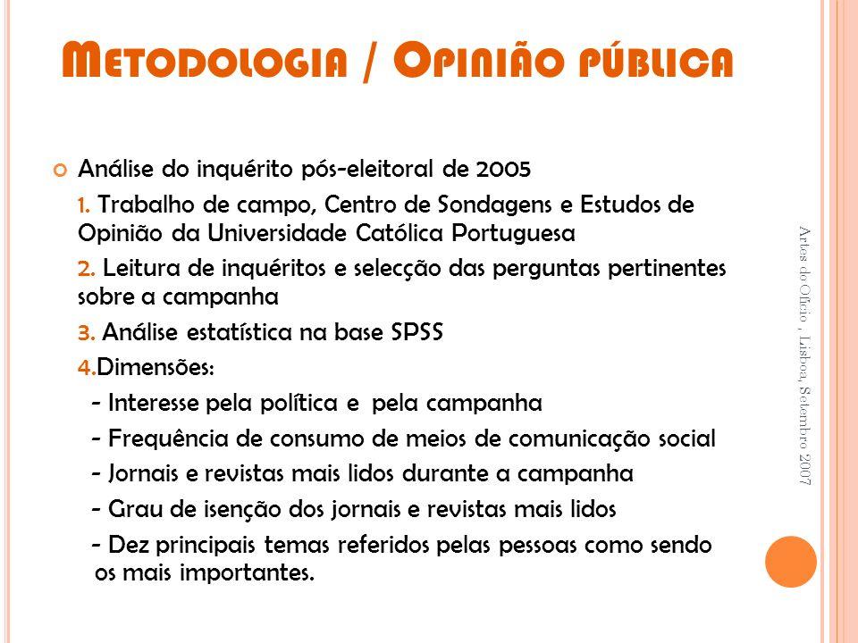 M ETODOLOGIA / O PINIÃO PÚBLICA Análise do inquérito pós-eleitoral de 2005 1.