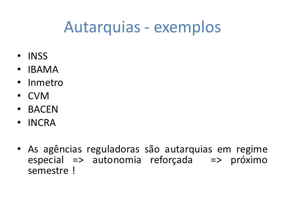 Autarquias - exemplos INSS IBAMA Inmetro CVM BACEN INCRA As agências reguladoras são autarquias em regime especial => autonomia reforçada => próximo semestre !