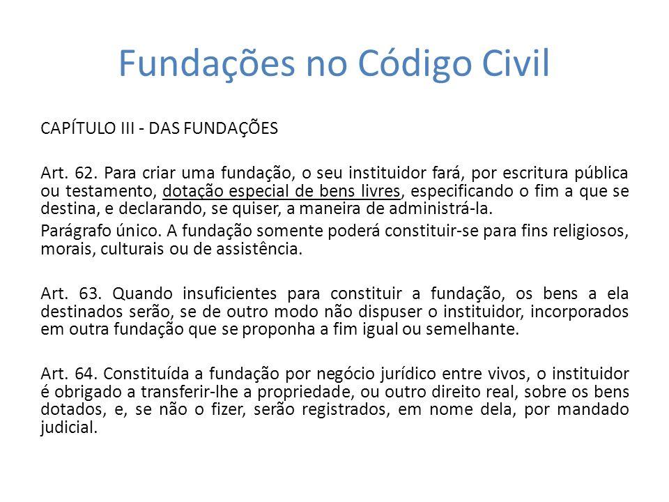 Fundações no Código Civil CAPÍTULO III - DAS FUNDAÇÕES Art.