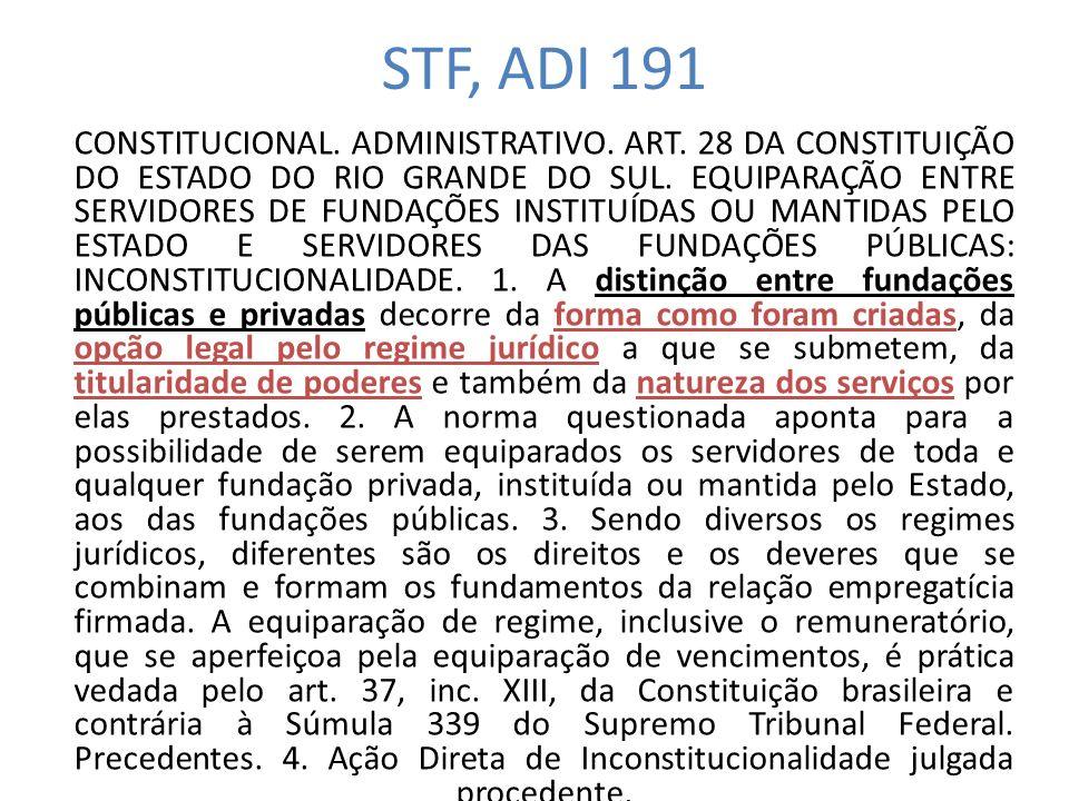 STF, ADI 191 CONSTITUCIONAL.ADMINISTRATIVO. ART.
