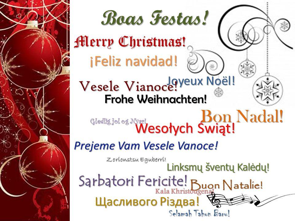 Boas Festas! Merry Christmas! ¡Feliz navidad! ¡Feliz navidad! Frohe Weihnachten! Frohe Weihnachten! Wesołych Świąt! Wesołych Świąt! Prejeme Vam Vesele