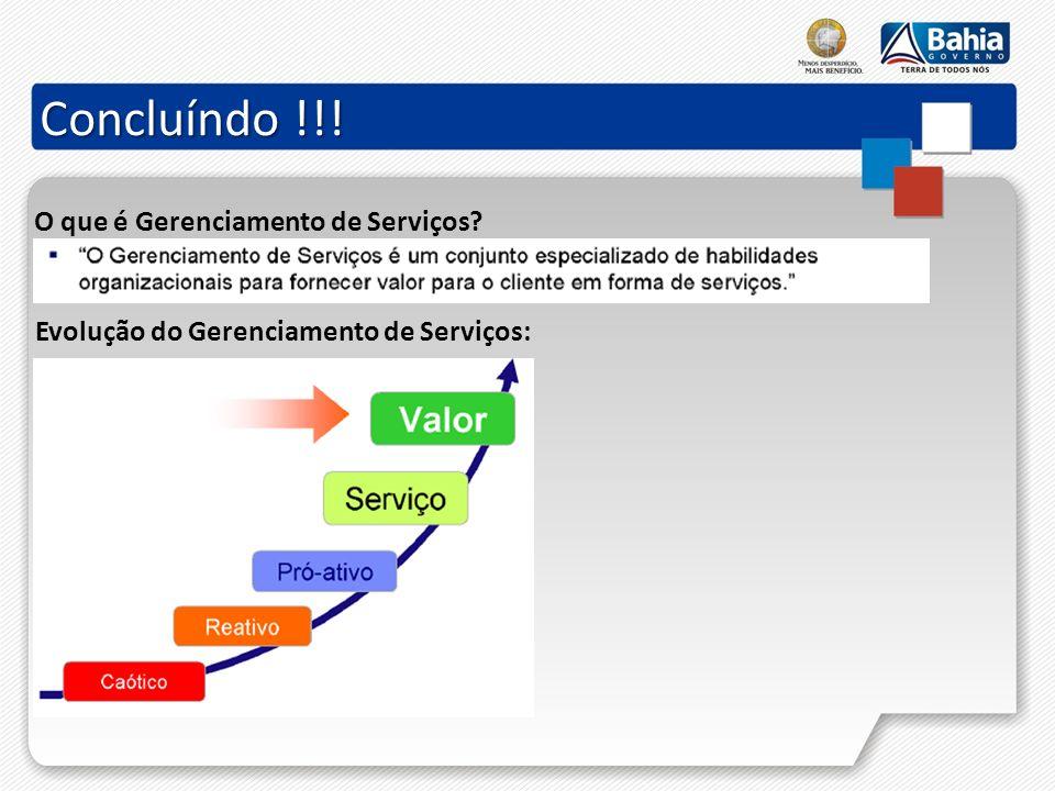 Concluíndo !!! O que é Gerenciamento de Serviços? Evolução do Gerenciamento de Serviços: