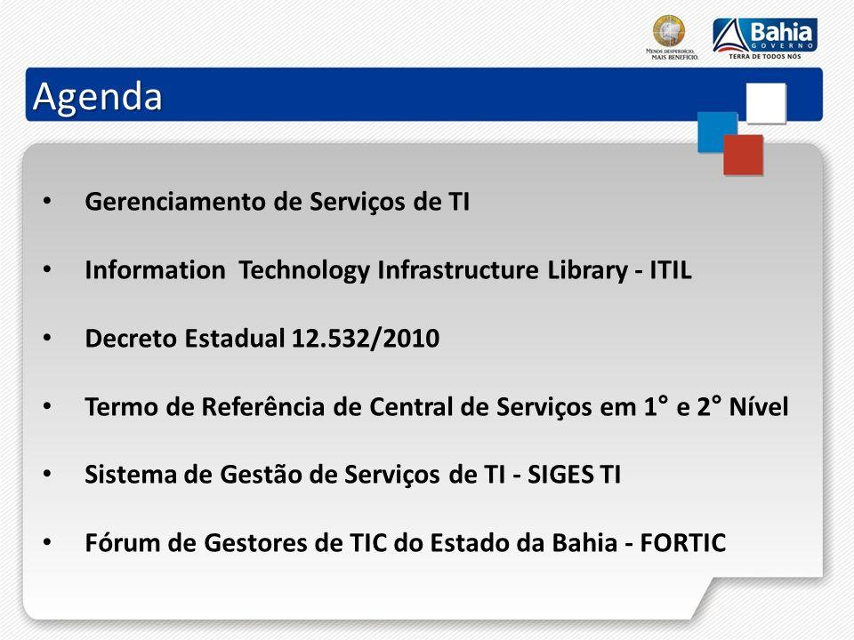 Agenda Gerenciamento de Serviços de TI Information Technology Infrastructure Library - ITIL Decreto Estadual 12.532/2010 Termo de Referência de Centra