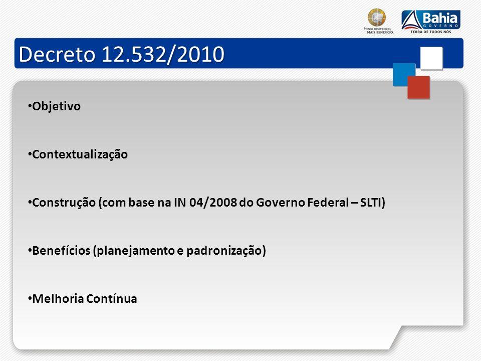Decreto 12.532/2010 Objetivo Contextualização Construção (com base na IN 04/2008 do Governo Federal – SLTI) Benefícios (planejamento e padronização) M