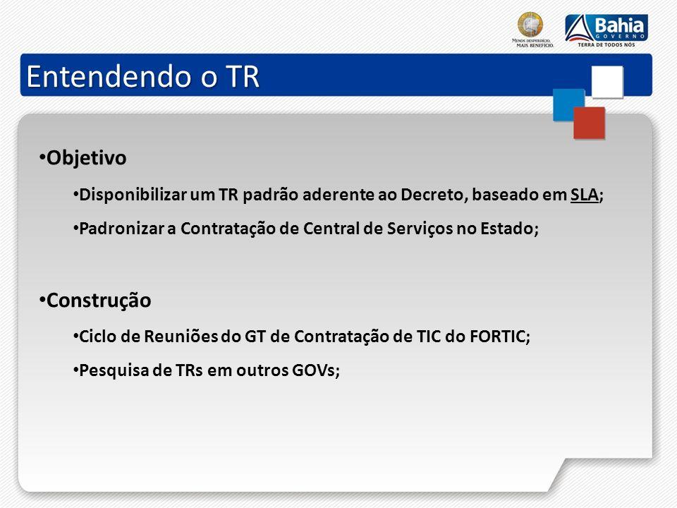 Entendendo o TR Objetivo Disponibilizar um TR padrão aderente ao Decreto, baseado em SLA; Padronizar a Contratação de Central de Serviços no Estado; C