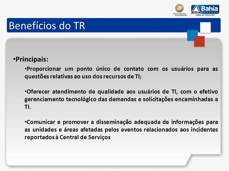 Benefícios do TR Principais: Proporcionar um ponto único de contato com os usuários para as questões relativas ao uso dos recursos de TI; Oferecer ate