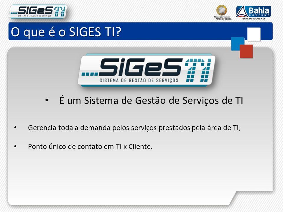 O que é o SIGES TI? É um Sistema de Gestão de Serviços de TI Gerencia toda a demanda pelos serviços prestados pela área de TI; Ponto único de contato