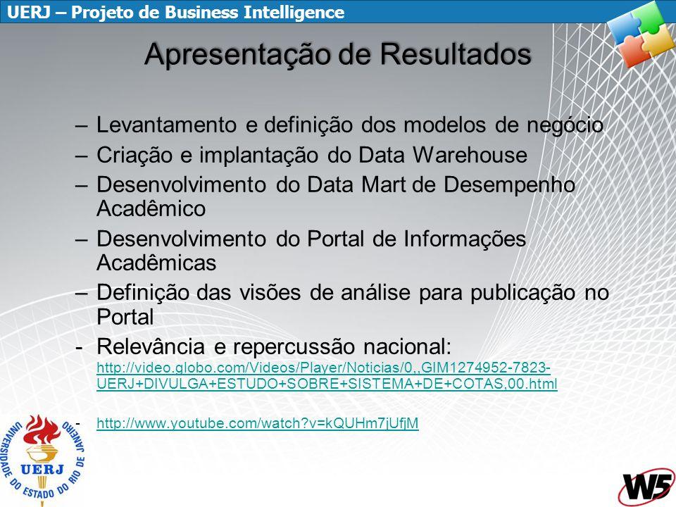 UERJ – Projeto de Business Intelligence Apresentação de Resultados –Levantamento e definição dos modelos de negócio –Criação e implantação do Data War
