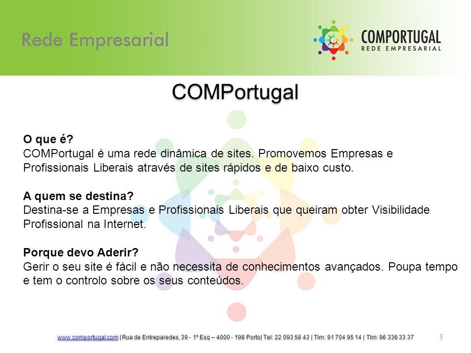 3 COMPortugal O que é? COMPortugal é uma rede dinâmica de sites. Promovemos Empresas e Profissionais Liberais através de sites rápidos e de baixo cust