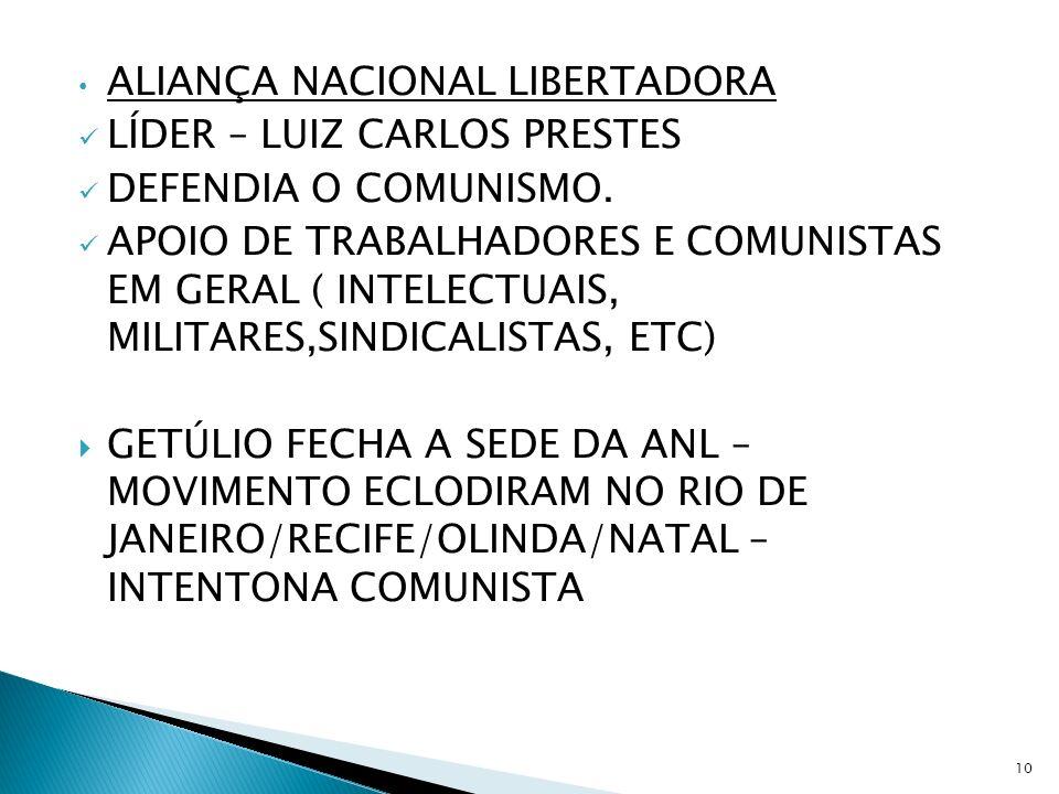 ALIANÇA NACIONAL LIBERTADORA LÍDER – LUIZ CARLOS PRESTES DEFENDIA O COMUNISMO. APOIO DE TRABALHADORES E COMUNISTAS EM GERAL ( INTELECTUAIS, MILITARES,
