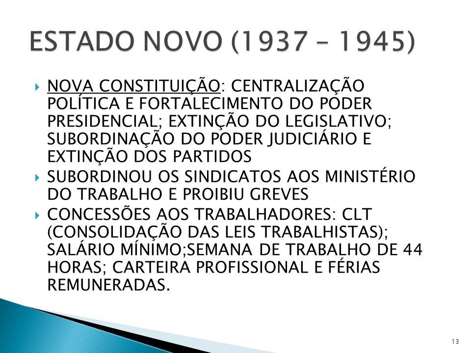 NOVA CONSTITUIÇÃO: CENTRALIZAÇÃO POLÍTICA E FORTALECIMENTO DO PODER PRESIDENCIAL; EXTINÇÃO DO LEGISLATIVO; SUBORDINAÇÃO DO PODER JUDICIÁRIO E EXTINÇÃO