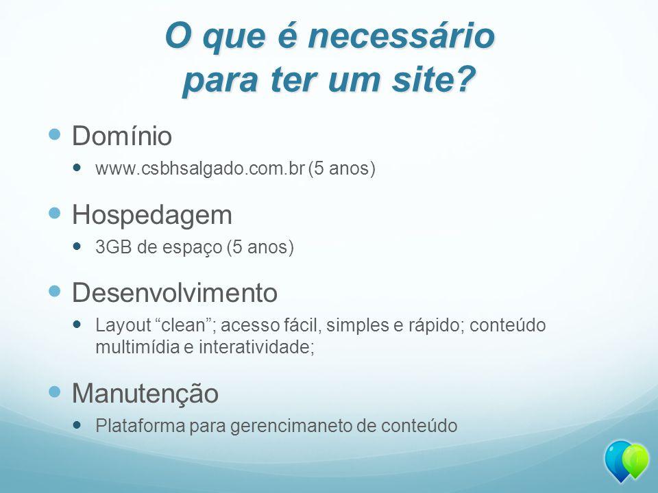 O que é necessário para ter um site? Domínio www.csbhsalgado.com.br (5 anos) Hospedagem 3GB de espaço (5 anos) Desenvolvimento Layout clean; acesso fá