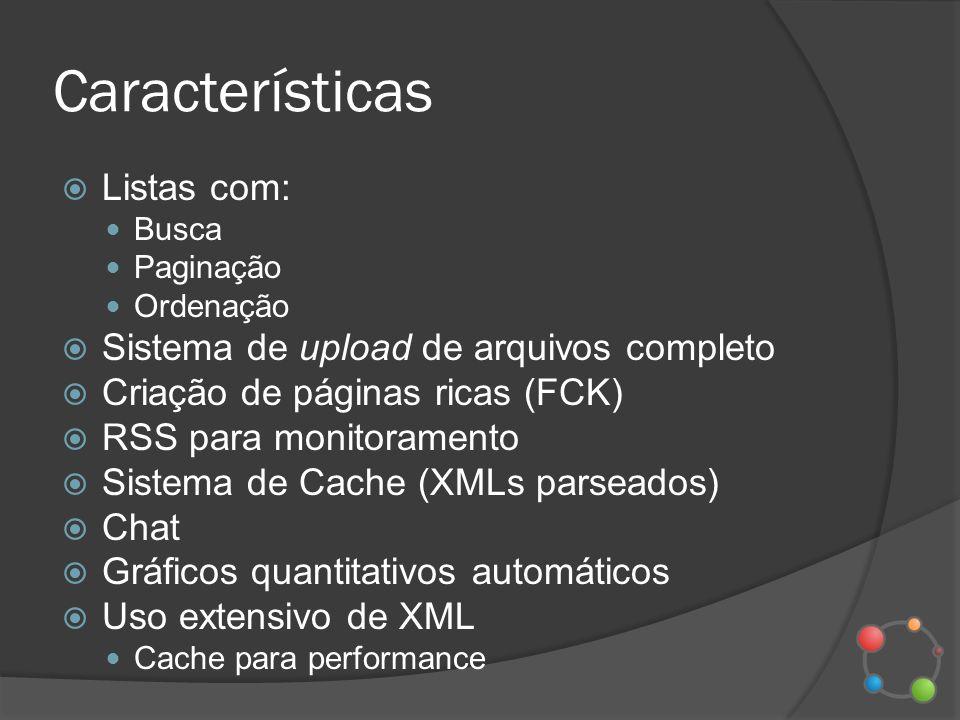 Características Listas com: Busca Paginação Ordenação Sistema de upload de arquivos completo Criação de páginas ricas (FCK) RSS para monitoramento Sis