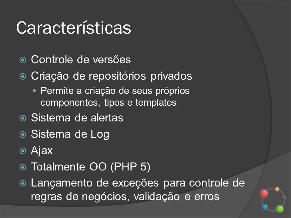Características Controle de versões Criação de repositórios privados Permite a criação de seus próprios componentes, tipos e templates Sistema de aler