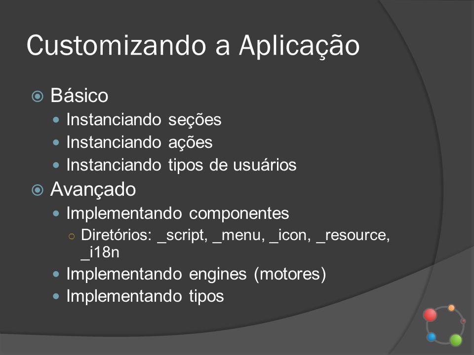 Customizando a Aplicação Básico Instanciando seções Instanciando ações Instanciando tipos de usuários Avançado Implementando componentes Diretórios: _