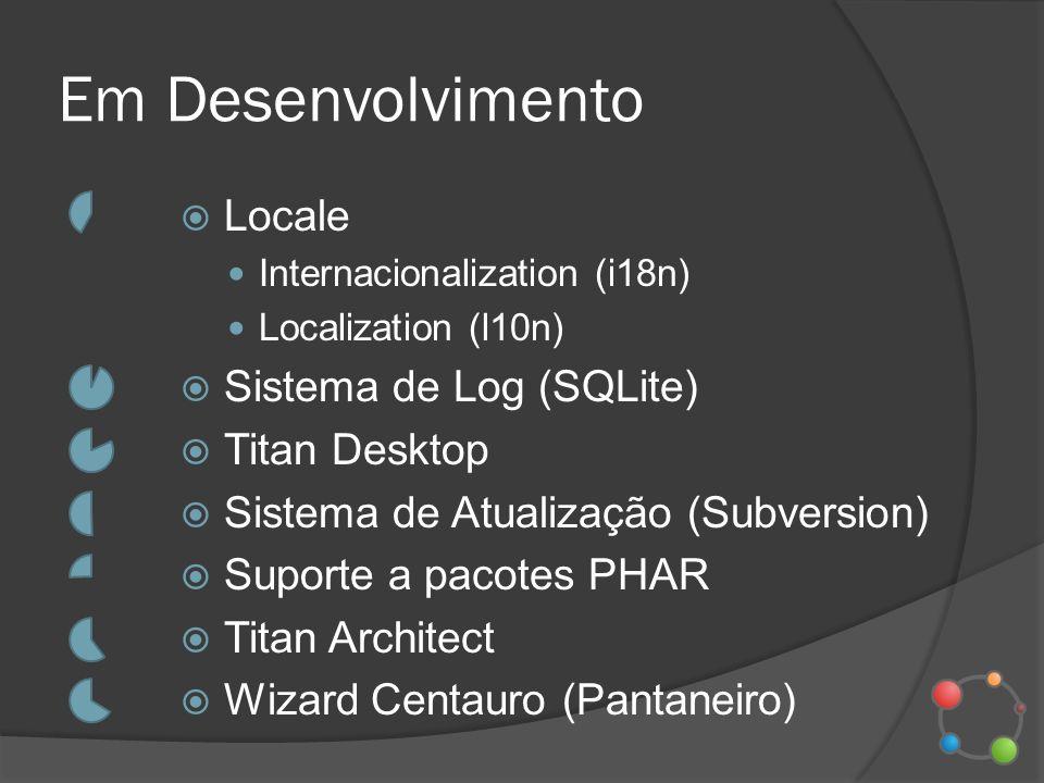 Em Desenvolvimento Locale Internacionalization (i18n) Localization (l10n) Sistema de Log (SQLite) Titan Desktop Sistema de Atualização (Subversion) Su