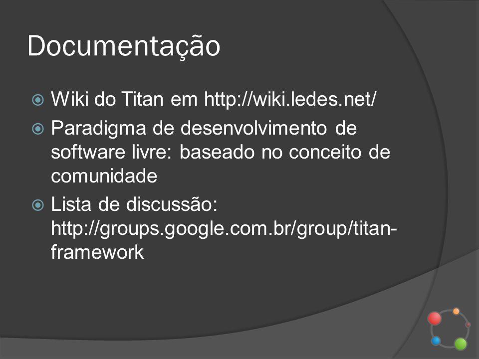 Documentação Wiki do Titan em http://wiki.ledes.net/ Paradigma de desenvolvimento de software livre: baseado no conceito de comunidade Lista de discus