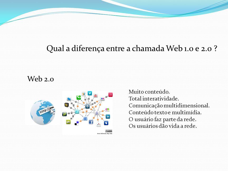 Qual a diferença entre a chamada Web 1.0 e 2.0 . Web 2.0 Muito conteúdo.