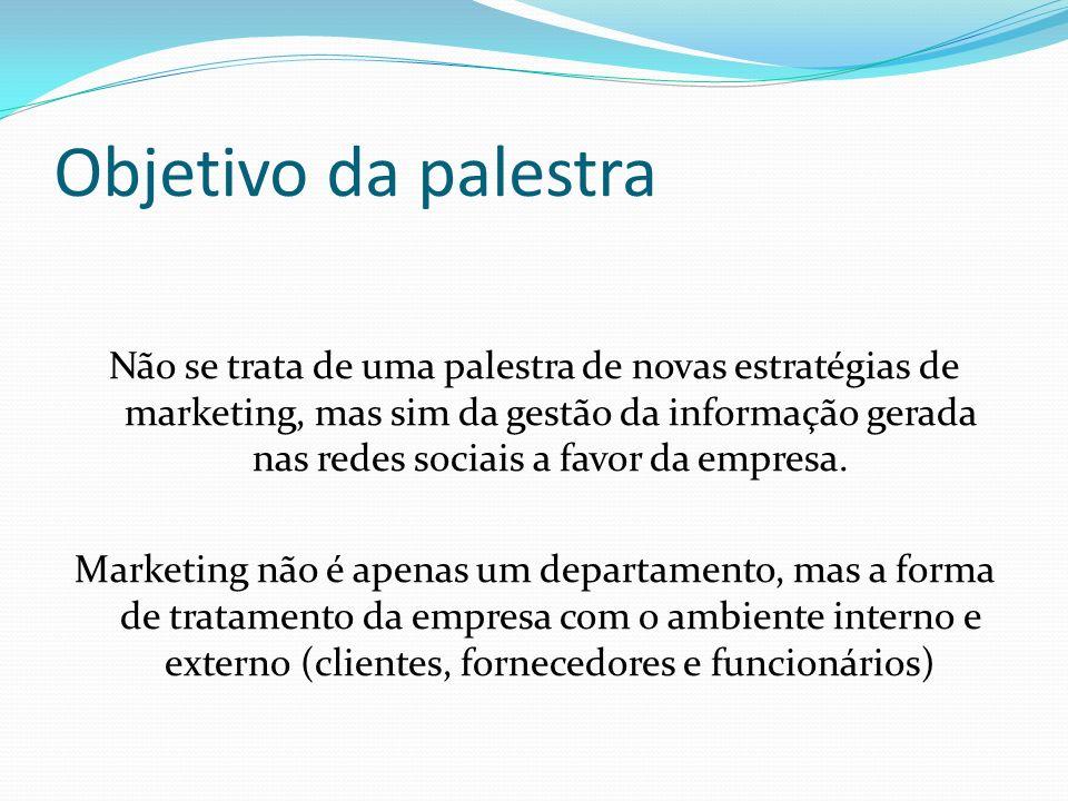 Objetivo da palestra Não se trata de uma palestra de novas estratégias de marketing, mas sim da gestão da informação gerada nas redes sociais a favor da empresa.
