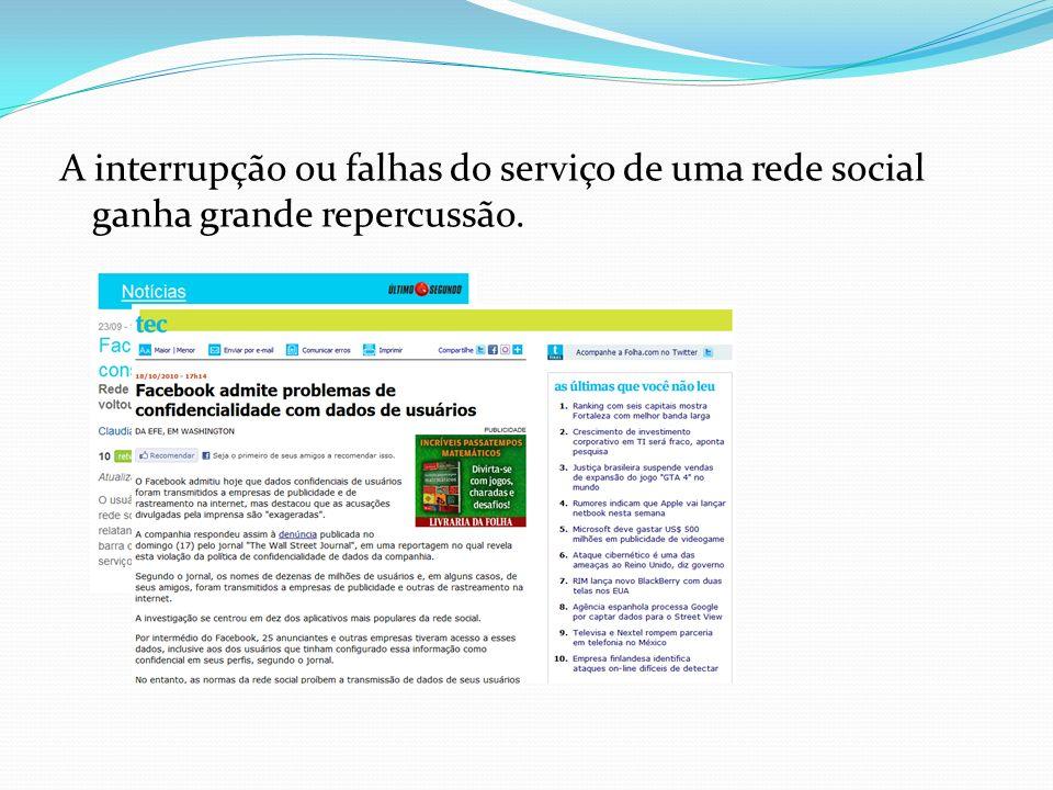 A interrupção ou falhas do serviço de uma rede social ganha grande repercussão.