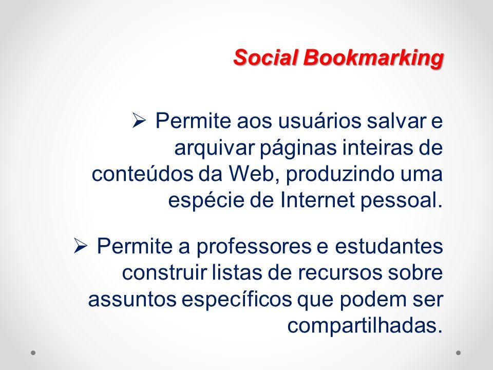 Social Bookmarking Permite aos usuários salvar e arquivar páginas inteiras de conteúdos da Web, produzindo uma espécie de Internet pessoal. Permite a
