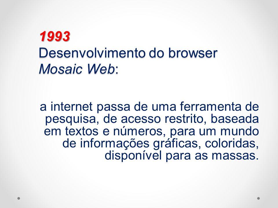 1993 Desenvolvimento do browser Mosaic Web: a internet passa de uma ferramenta de pesquisa, de acesso restrito, baseada em textos e números, para um m