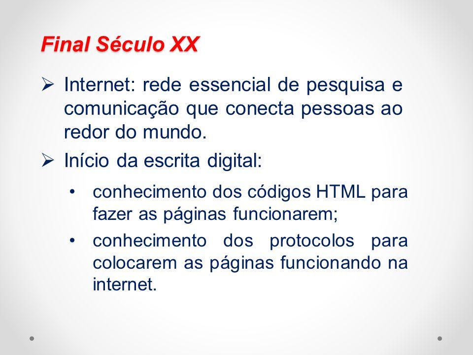 Final Século XX Internet: rede essencial de pesquisa e comunicação que conecta pessoas ao redor do mundo. Início da escrita digital: conhecimento dos