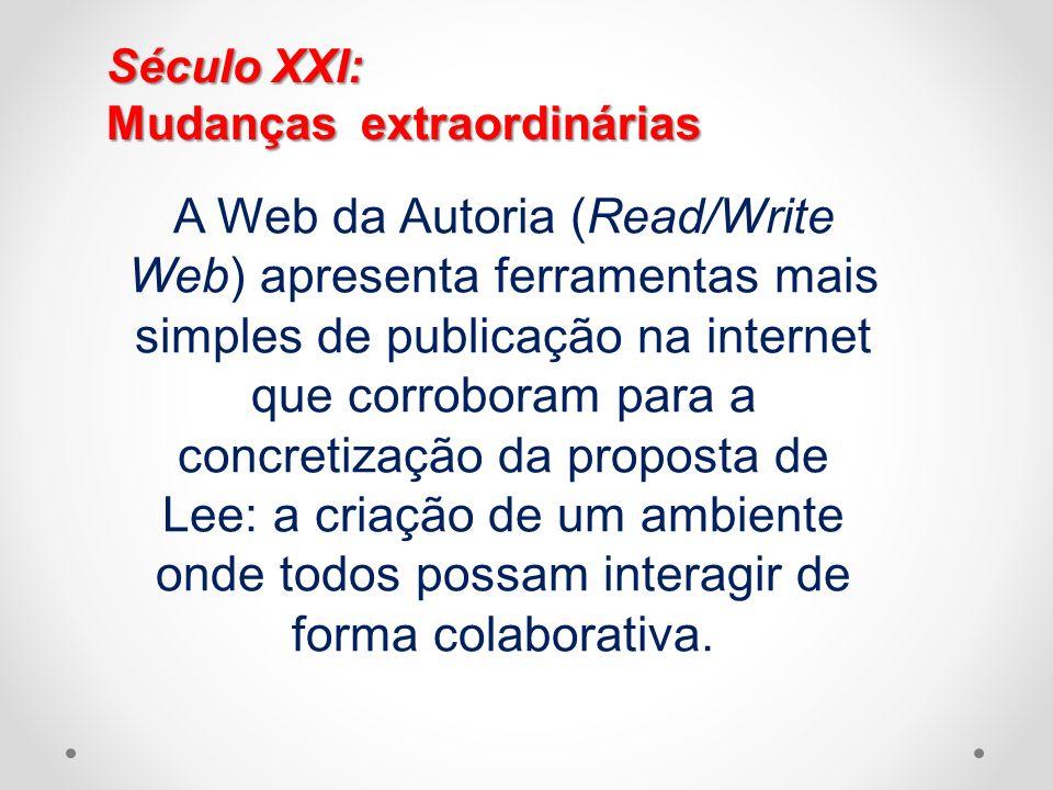 Século XXI: Mudanças extraordinárias A Web da Autoria (Read/Write Web) apresenta ferramentas mais simples de publicação na internet que corroboram par