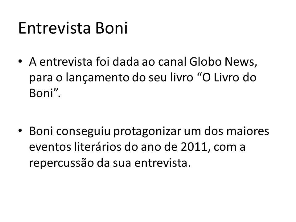 Entrevista Boni A entrevista foi dada ao canal Globo News, para o lançamento do seu livro O Livro do Boni. Boni conseguiu protagonizar um dos maiores