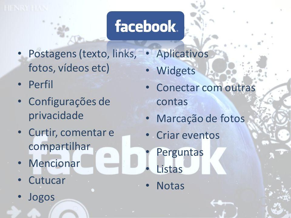 Postagens (texto, links, fotos, vídeos etc) Perfil Configurações de privacidade Curtir, comentar e compartilhar Mencionar Cutucar Jogos Aplicativos Wi