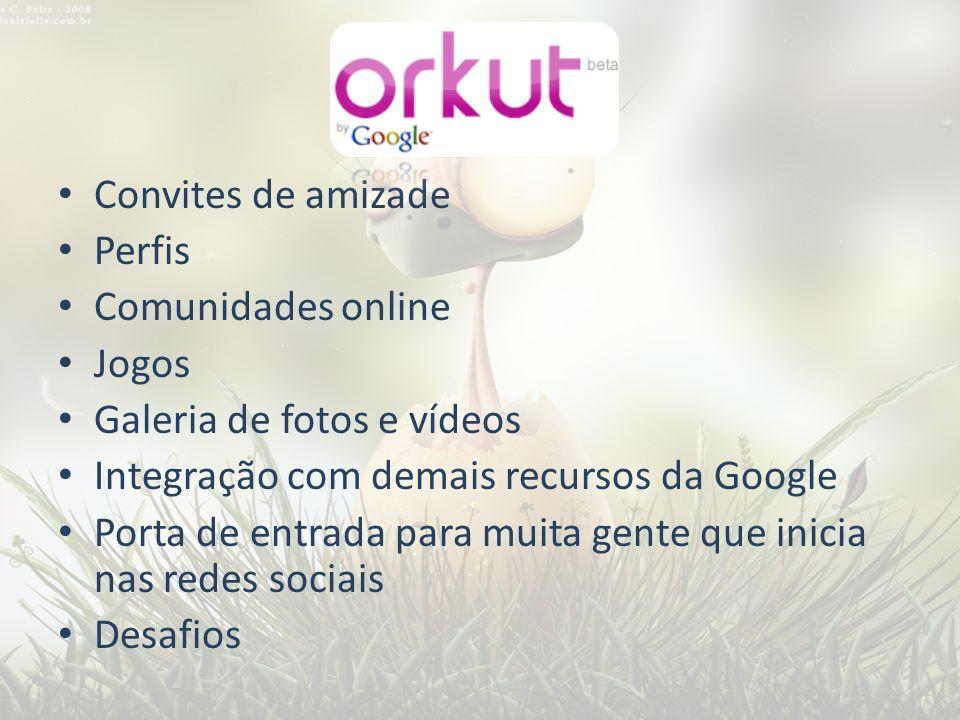 Convites de amizade Perfis Comunidades online Jogos Galeria de fotos e vídeos Integração com demais recursos da Google Porta de entrada para muita gen