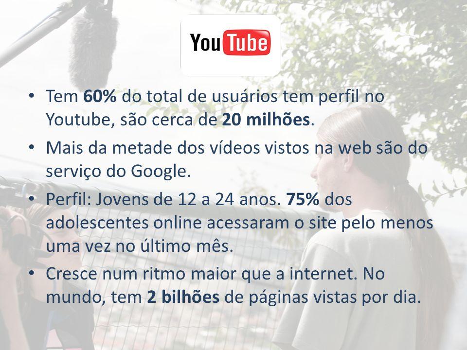 Tem 60% do total de usuários tem perfil no Youtube, são cerca de 20 milhões. Mais da metade dos vídeos vistos na web são do serviço do Google. Perfil: