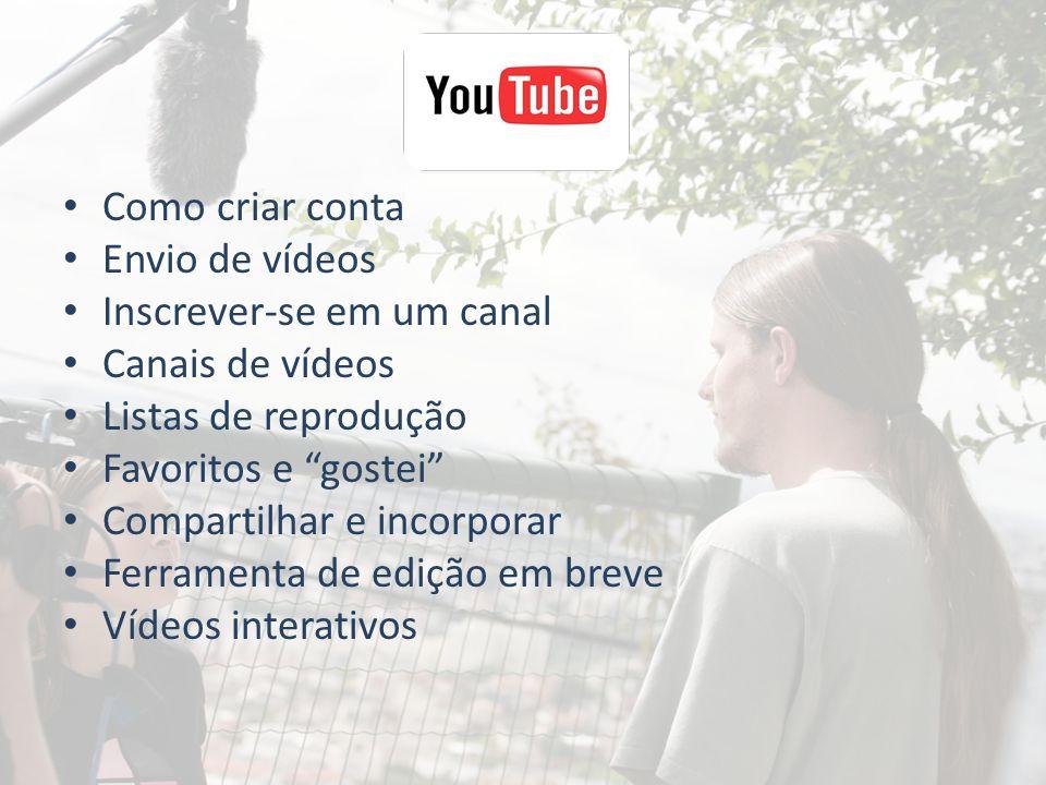 Como criar conta Envio de vídeos Inscrever-se em um canal Canais de vídeos Listas de reprodução Favoritos e gostei Compartilhar e incorporar Ferrament