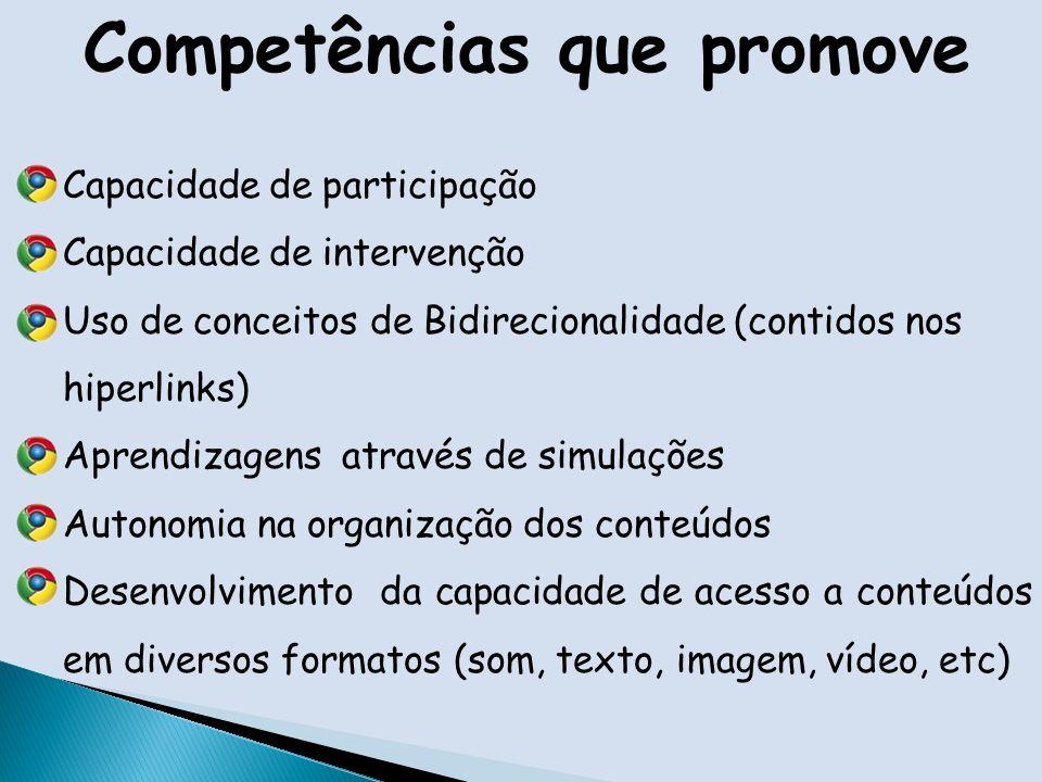 Competências que promove Capacidade de participação Capacidade de intervenção Uso de conceitos de Bidirecionalidade (contidos nos hiperlinks) Aprendizagens através de simulações Autonomia na organização dos conteúdos Desenvolvimento da capacidade de acesso a conteúdos em diversos formatos (som, texto, imagem, vídeo, etc)