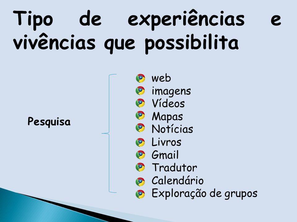 Tipo de experiências e vivências que possibilita Pesquisa web imagens Vídeos Mapas Notícias Livros Gmail Tradutor Calendário Exploração de grupos