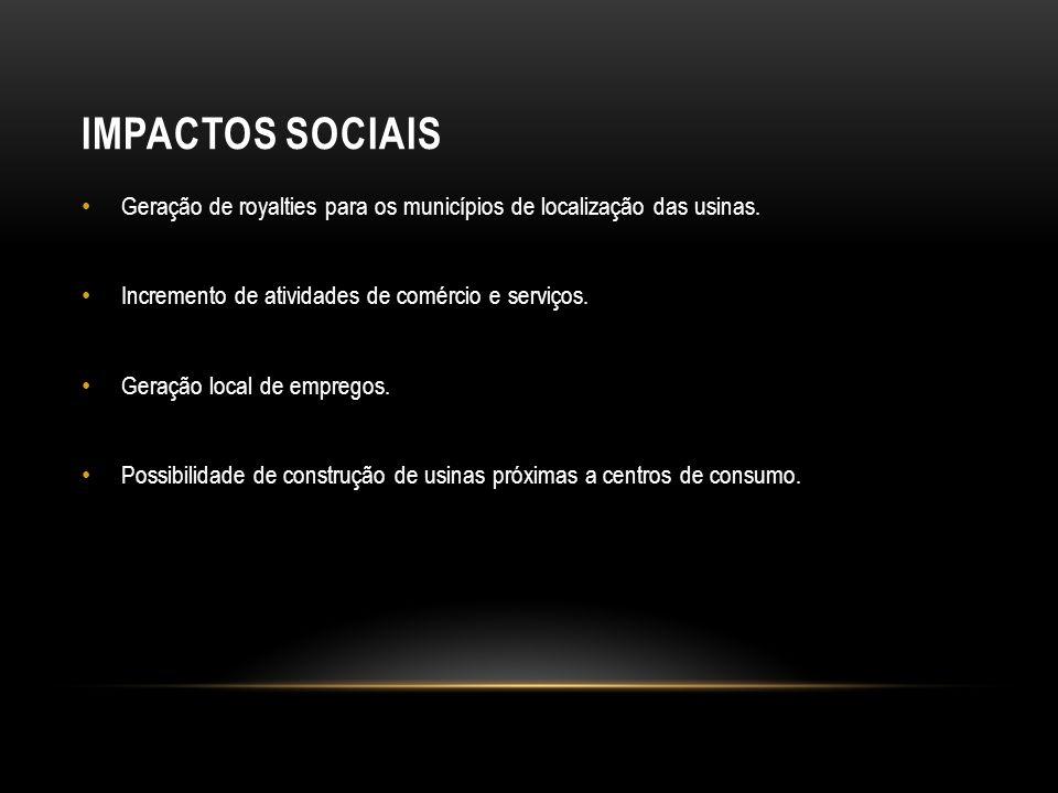 IMPACTOS SOCIAIS Geração de royalties para os municípios de localização das usinas.