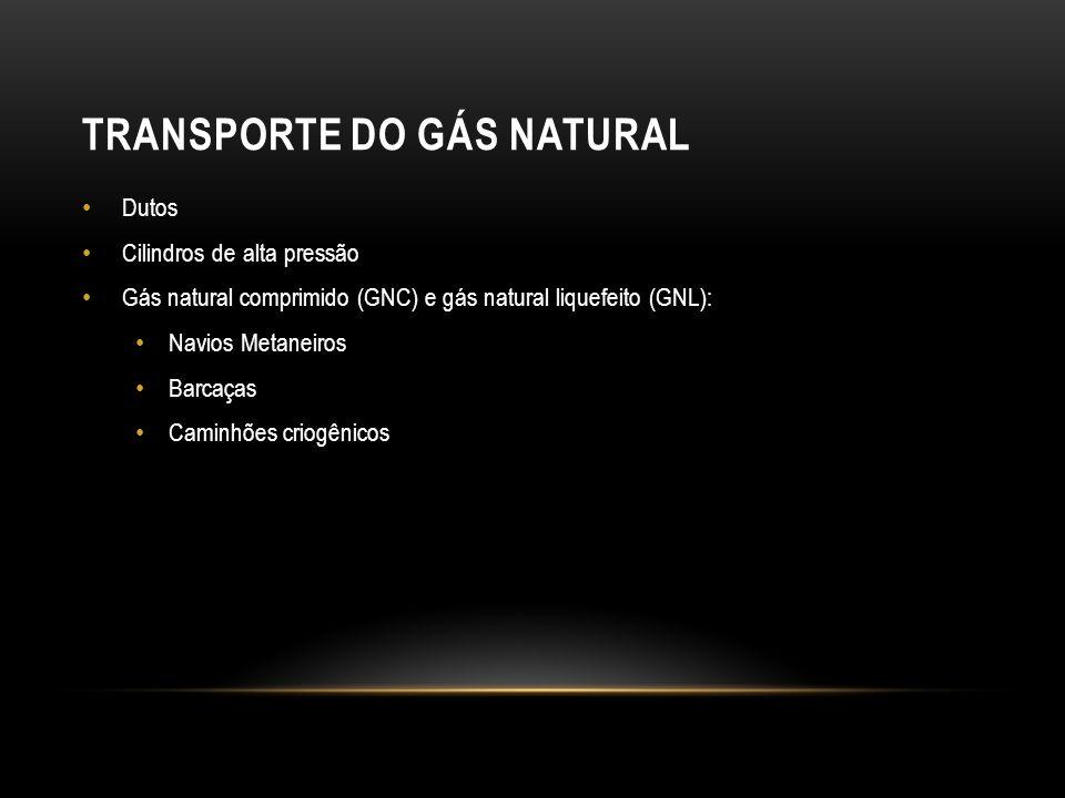 TRANSPORTE DO GÁS NATURAL Dutos Cilindros de alta pressão Gás natural comprimido (GNC) e gás natural liquefeito (GNL): Navios Metaneiros Barcaças Caminhões criogênicos