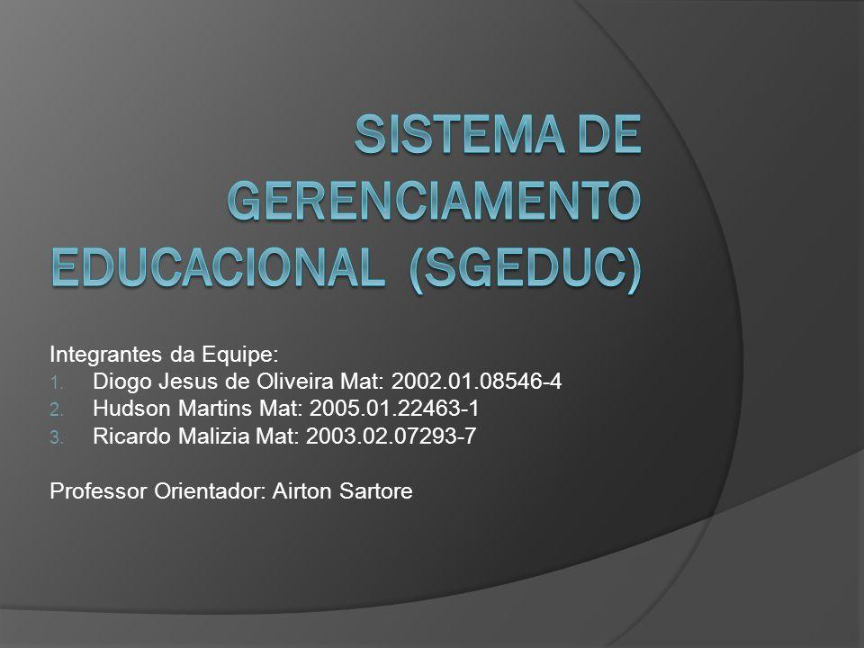 Integrantes da Equipe: 1. Diogo Jesus de Oliveira Mat: 2002.01.08546-4 2. Hudson Martins Mat: 2005.01.22463-1 3. Ricardo Malizia Mat: 2003.02.07293-7