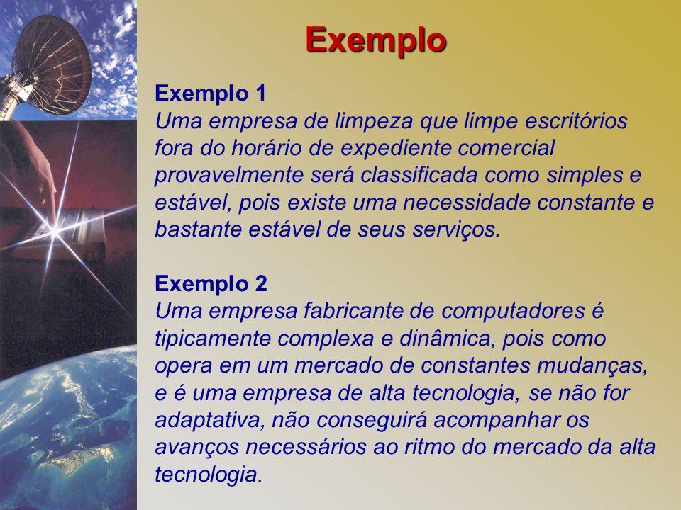 Exemplo 1 Uma empresa de limpeza que limpe escritórios fora do horário de expediente comercial provavelmente será classificada como simples e estável,