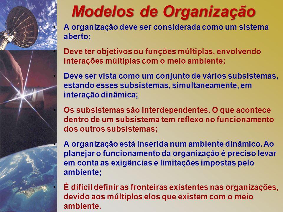 Modelos de Organização A organização deve ser considerada como um sistema aberto; Deve ter objetivos ou funções múltiplas, envolvendo interações múltiplas com o meio ambiente; Deve ser vista como um conjunto de vários subsistemas, estando esses subsistemas, simultaneamente, em interação dinâmica; Os subsistemas são interdependentes.