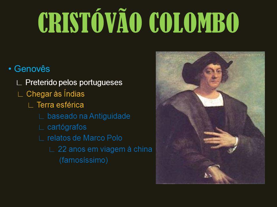CRISTÓVÃO COLOMBO Genovês Preterido pelos portugueses Chegar às Índias Terra esférica baseado na Antiguidade cartógrafos relatos de Marco Polo 22 anos em viagem à china (famosíssimo)