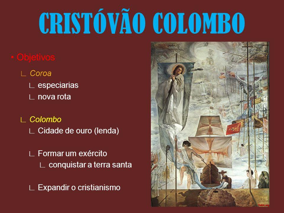 Objetivos Coroa especiarias nova rota Colombo Cidade de ouro (lenda) Formar um exército conquistar a terra santa Expandir o cristianismo CRISTÓVÃO COL