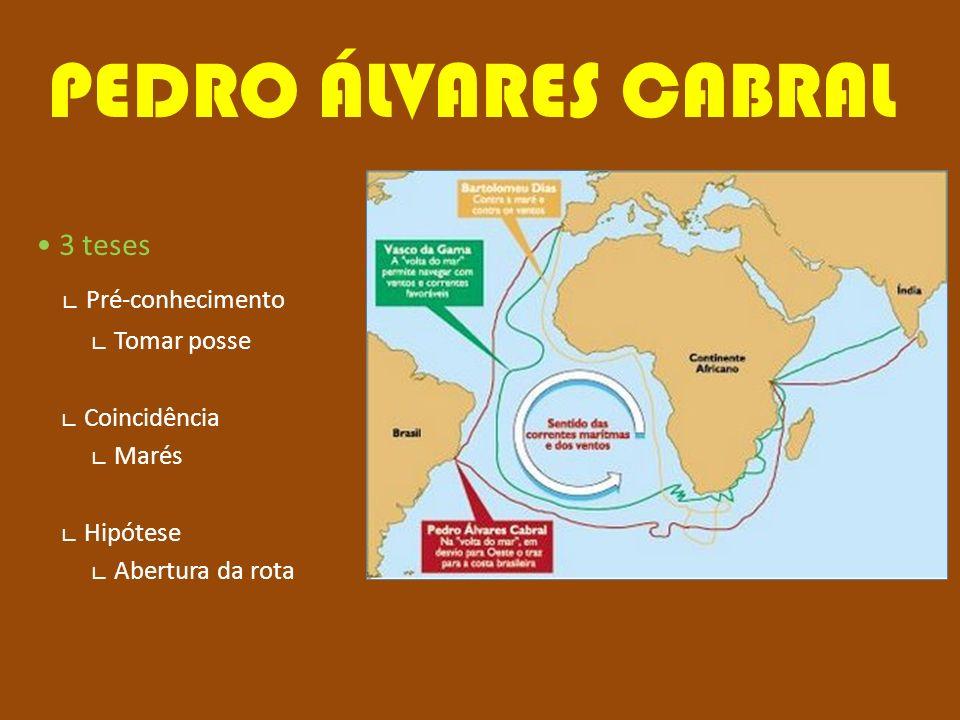 PEDRO ÁLVARES CABRAL 3 teses Pré-conhecimento Tomar posse Coincidência Marés Hipótese Abertura da rota