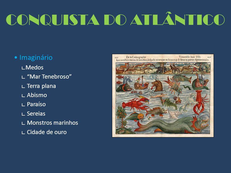 CONQUISTA DO ATLÂNTICO Imaginário Medos Mar Tenebroso Terra plana Abismo Paraíso Sereias Monstros marinhos Cidade de ouro