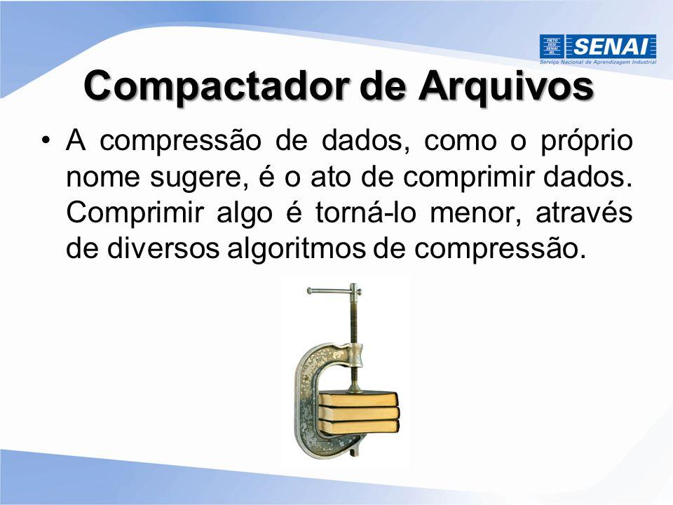 Compactador de Arquivos A compressão de dados, como o próprio nome sugere, é o ato de comprimir dados. Comprimir algo é torná-lo menor, através de div