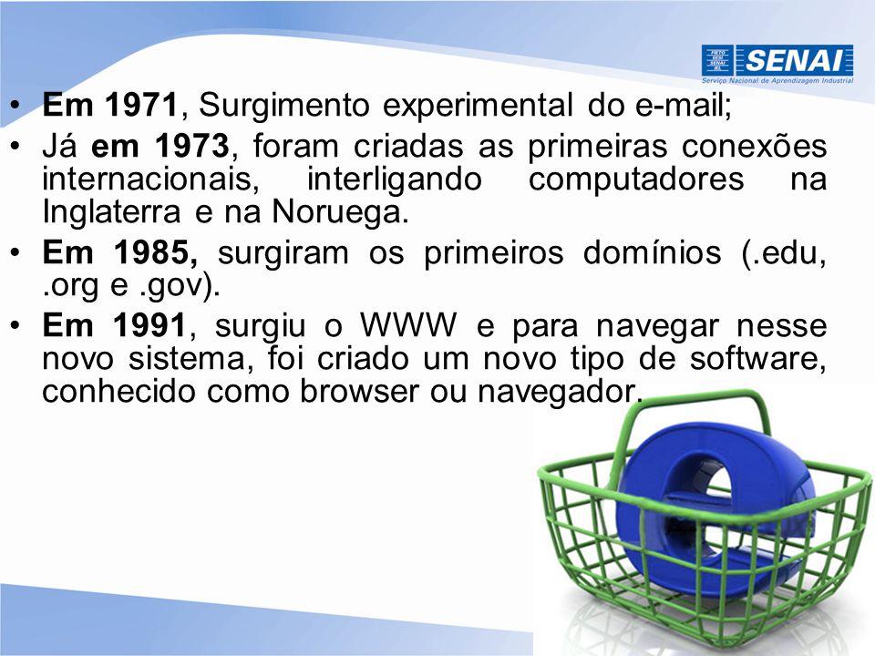 Em 1971, Surgimento experimental do e-mail; Já em 1973, foram criadas as primeiras conexões internacionais, interligando computadores na Inglaterra e