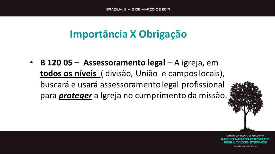 Importância X Obrigação B 120 05 – Assessoramento legal – A igreja, em todos os níveis ( divisão, União e campos locais), buscará e usará assessoramen