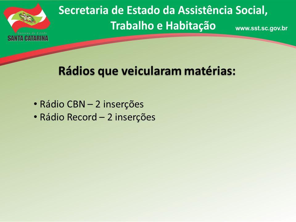 Rádios que veicularam matérias: Rádio CBN – 2 inserções Rádio Record – 2 inserções