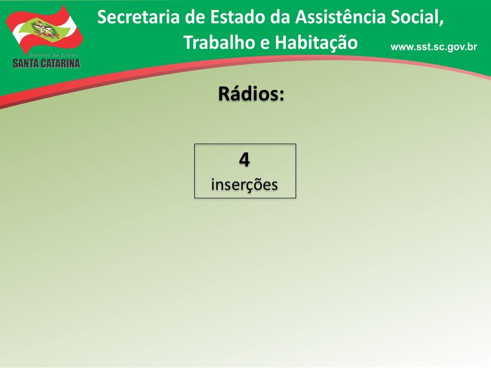 Rádios: 4 inserções 4 inserções