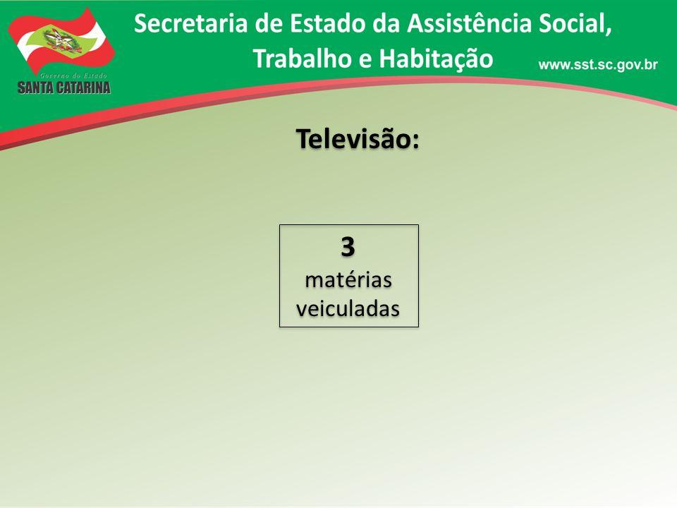 Televisão: 3 matérias veiculadas 3 matérias veiculadas
